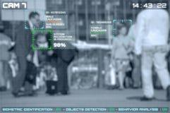 Simulação de uma tela de câmeras do cctv com reconhecimento facial foto de stock royalty free