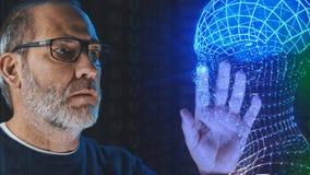 Simulación de aprendizaje profunda del cerebro de la inteligencia artificial imagen de archivo libre de regalías