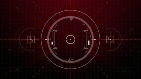 Simulación inconsútil de la cerradura gráfica de la blanco de radar del movimiento de la alerta roja en la pantalla con números,  libre illustration