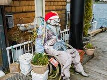Simulacre bourré sur le porche à la maison de flottement au quai du pêcheur, Victoria, Colombie-Britannique Photographie stock