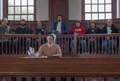 Simulacro de juicio en curso en Williamsburg imagenes de archivo