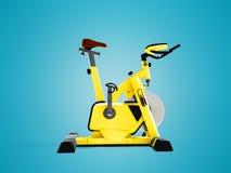 Simulador amarillo de la bici del deporte para la vista lateral 3d de la forma de vida deportiva con referencia a ilustración del vector