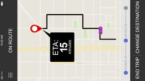 Ride sharing on route eta screen. A simulated driver arriving ride sharing app ETA map screen for a cellular phone. Orientation is created vertical for placement stock footage