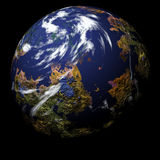 Simulated planet on black Stock Photos