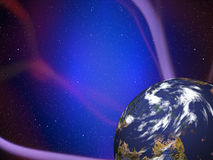 Simulated planet with plasma rays Stock Images