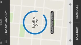 Simulated Ride Sharing App Screen for Smartphone Locating Driver. 10164 A simulated ride sharing app locating driver map screen for a cellular phone. Orientation stock video footage