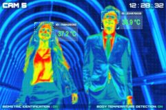 Simulation of body temperature check by thermoscan or infrared thermal camera