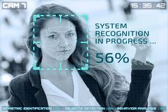 Free Simulation Cctv Cameras With Woman Facial Recognition Stock Photo - 139919300