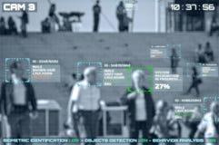 Simulation eines Schirmes von cctv-Kameras mit Gesichtsanerkennung lizenzfreie stockfotografie