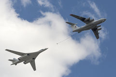 Simulation of in-flight refueling aircraft Il-78 and Tu-160. MOSCOW, RUSSIA - MAY 07, 2016: Simulation of in-flight refueling aircraft Il-78 and Tu-160 during Royalty Free Stock Images