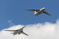 Simulation of in-flight refueling aircraft Il-78 and Tu-160. MOSCOW, RUSSIA - MAY 07, 2016: Simulation of in-flight refueling aircraft Il-78 and Tu-160 during Stock Image