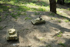 Simulation of remote control model tank. Royalty Free Stock Photos
