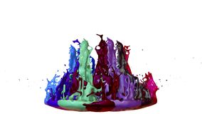 Colorful background with liquid. Simulation of splashes of paint on a musical speaker that play music. 3d splashes of. Simulation of splashes of ink on a musical royalty free illustration