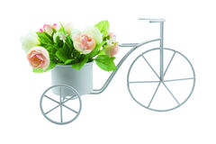 Simulation tricycle with bouquet flower isolated on white background Royalty Free Stock Images