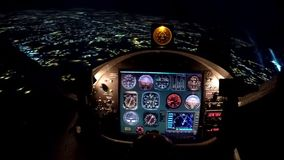 Simulator of night flight above city, training equipment for beginner pilots. Stock photo royalty free stock photography