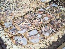Simulera buddhas fotspår med myntet arkivbild
