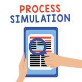 Simulering för handskrifttextprocess Begreppet som betyder den tekniska framställningen, fabricerade studien av ett system vektor illustrationer
