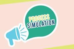 Simulering för process för ordhandstiltext Affärsidéen för teknisk framställning fabricerade studien av ett system vektor illustrationer