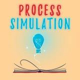 Simulering för process för textteckenvisning Fabricerade den tekniska framställningen för det begreppsmässiga fotoet studien av e stock illustrationer