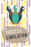 Simulering för process för textteckenvisning Fabricerade den tekniska framställningen för det begreppsmässiga fotoet studien av e royaltyfri illustrationer