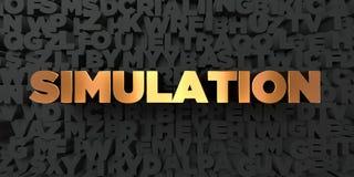 Simulering - guld- text på svart bakgrund - 3D framförd fri materielbild för royalty vektor illustrationer