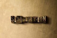 SIMULERING - närbild av det typsatta ordet för grungy tappning på metallbakgrunden stock illustrationer