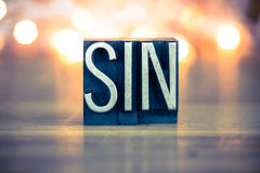 Sin Concept Metal Letterpress Type Royalty Free Stock Image