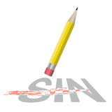 Sin Erased Salvation Theme Illustration. An illustration of a pencil erasing the word sin. Christian salvation concept and theme. Vector EPS 10 available Royalty Free Stock Photo