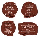 ` Sin refinar del aceite del aceite del ` del ` de semilla del aceite del ` del ` del negro de comino del aceite del ` de lino pl Imagen de archivo