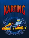 Karting race driver on blue background royalty free stock photo