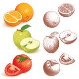 Sinaasappel, Appel, Tomaat Royalty-vrije Stock Foto's