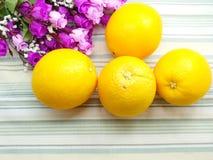 Sinaasappel & bloemachtergrond met groene strepenachtergrond Stock Afbeelding