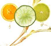 Sinaasappel, Citroen en Kalkplakken Royalty-vrije Stock Foto