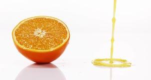 Sinaasappel, citrus sinensis, Oranje Juice Flowing tegen Witte achtergrond, stock footage