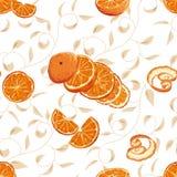 Sinaasappel die naadloze achtergrond wervelen Royalty-vrije Stock Afbeeldingen