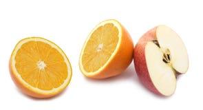 Sinaasappel en appel stock afbeeldingen