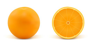 Sinaasappel en een deel van sinaasappel Stock Foto's