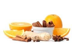 Sinaasappel en kruiden royalty-vrije stock foto