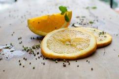 Sinaasappel en plak Stock Foto