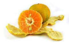Sinaasappel en schil Stock Foto's