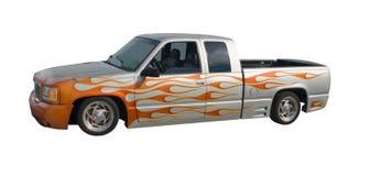 Sinaasappel gevlamde lowrider vrachtwagen Stock Foto