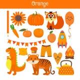 Sinaasappel Leer de kleur Onderwijsreeks Illustratie van primair Stock Foto