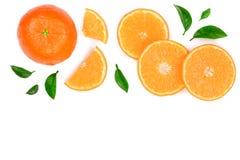 Sinaasappel of mandarijn met bladeren op witte achtergrond met exemplaarruimte worden geïsoleerd voor uw tekst die Vlak leg, hoog Royalty-vrije Stock Fotografie