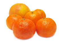 Sinaasappel, mandarin en grapefruit. Stock Foto