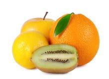 Sinaasappel met blad, appel, citroen, kiwi Stock Afbeelding
