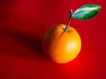 Sinaasappel met Blad op Steel Royalty-vrije Stock Foto's