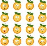 Sinaasappel met eigenschap een verschillende uitdrukking Stock Afbeeldingen