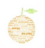 Sinaasappel met groene die bladeren van woorden worden gemaakt Royalty-vrije Stock Afbeeldingen