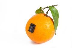 Sinaasappel met schakelaar in macht van positie Royalty-vrije Stock Foto's