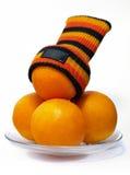 Sinaasappel met sok Royalty-vrije Stock Fotografie